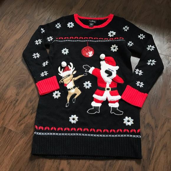 Dabbing Santa and Reindeer Ugly Christmas Sweater